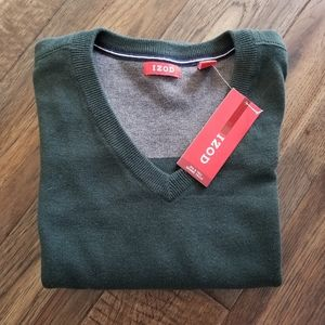 IZOD Big & Tall hunter green v neck sweater 3XL